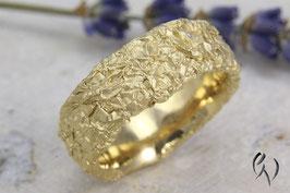 Breiter Ring Silber 925/-, Zerknittert, 8 mm