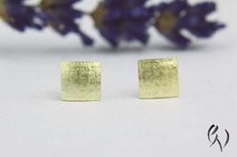 Ohrstecker Gold 585/-, Miniquadrat leinenstruktur