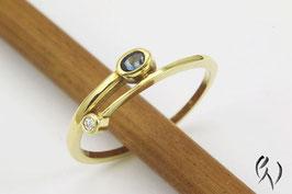Ring Gold 750/- mit Safir und Brillant