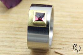 Ring Edelstahl/ Gold 750/- mit Rhodolit