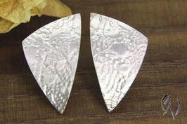 Ohrstecker Silber 925/-, großes Dreieck, spitzenstrukturiert