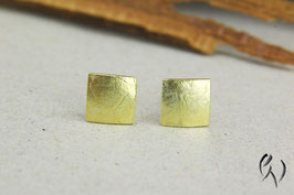 Ohrstecker Gold 585/-, Miniquadrat Papierstruktur