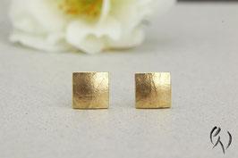 Ohrstecker Rosegold 585/-, Miniquadrat papiermatt