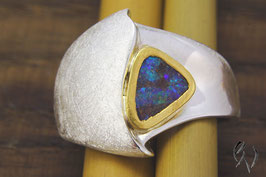 Ring Silber 925/-mit Opal in Feingoldfassung