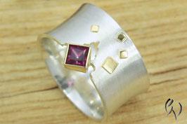Ring Silber 925/- mit Gold 750/- und rotem Topas