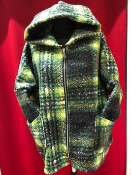 Sportlicher Wollmantel schwarz/grün