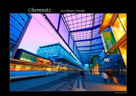 """Chemnitz zur """"blauen Stunde""""."""