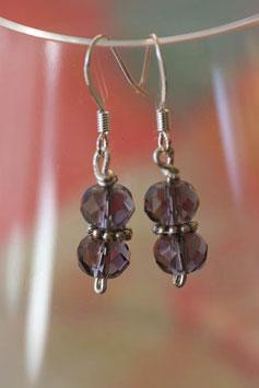 Boucles d'oreilles verre à facettes violettes