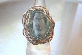 Bague ovale bleu turquoise à feuille d'argent
