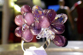 Bague argent grappe florale violette