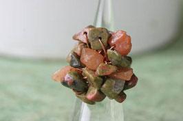 Bague ronde en pierres, unakite vert et marron