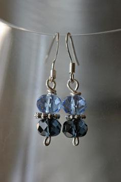 Boucles d'oreilles verre à facettes bleu clair et bleu gris