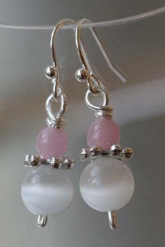 Boucles d'oreilles oeil de chat blanc et rose pâle