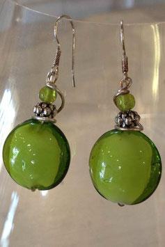 Boucles d'oreilles rondes plates vert pomme