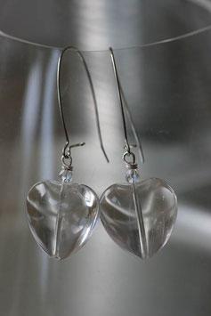 Boucles d'oreilles coeurs de verre cristal