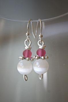 Boucles d'oreilles oeil de chat blanc et rose