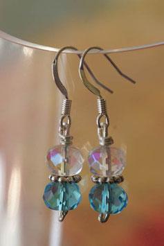 Boucles d'oreilles verre à facettes cristal et turquoise