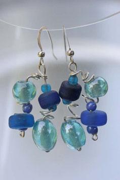 Boucles d'oreilles irisées turquoise et bleu
