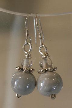 Boucles d'oreilles céramique grise