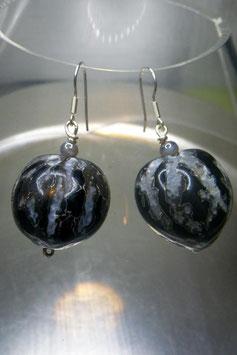 Boucles d'oreilles coeur de palmier grises et noires