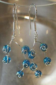 Boucles d'oreilles petites gouttes de pluie turquoise
