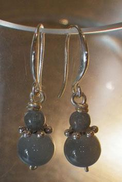 Boucles d'oreilles petites opalescentes verre gris