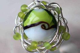 Bague bicolore vert anis et blanc