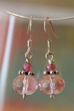 Boucles d'oreilles facettes irisées roses