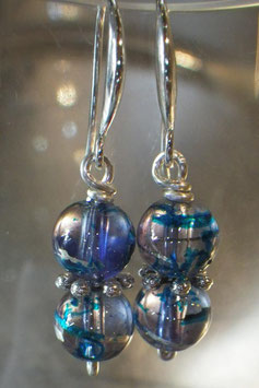 Boucles d'oreilles bleu marbrées argent