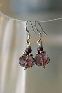 Boucles d'oreilles facettes violet translucide