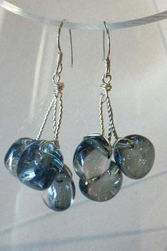 Boucles d'oreilles quartz irisé bleu