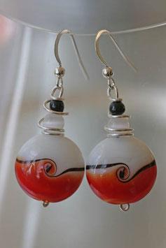 Boucles d'oreilles bicolores rouge et blanc