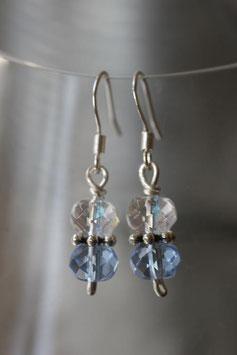 Boucles d'oreilles verre à facettes cristal et bleu clair