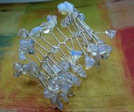 Bracelet manchette quartz et pierre de lune
