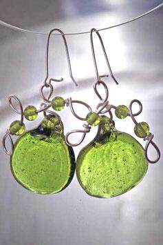 Boucles d'oreilles à palet vert anis
