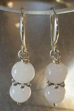 Boucles d'oreilles opalescentes verre blanc