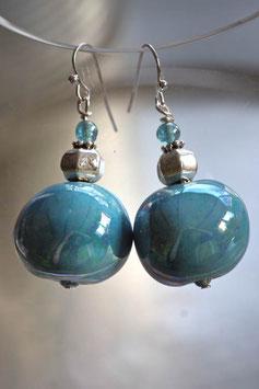 Grosses boucles d'oreilles en céramique turquoise