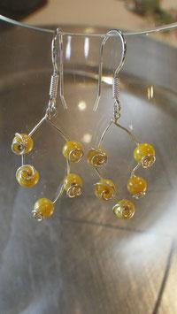 Boucles d'oreilles petites gouttes de pluie jaune d'or