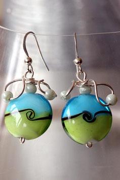 Boucles d'oreilles bicolore bleu - vert à pétales