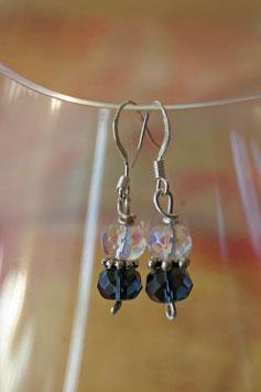 Boucles d'oreilles verre à facettes cristal et bleu gris