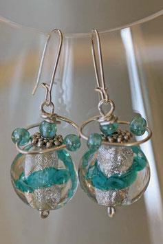 Boucles d'oreilles cristal et vert d'eau