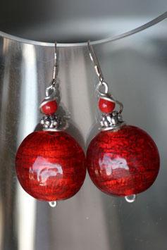 Boucles d'oreilles bombées rouges