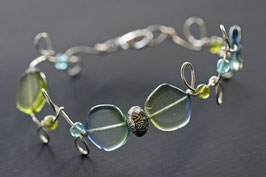 Bracelet bicolore vert et bleu tendre