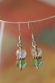 Boucles d'oreilles verre à facette cristal et vert