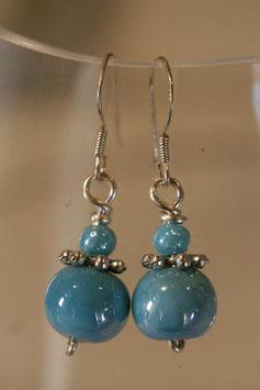 Boucles d'oreilles céramique bleu turquoise
