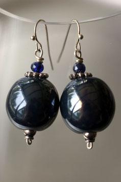 Boucles d'oreilles en céramique bleu marine