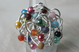 Bague rocaille multicolore