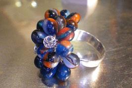 Bague argent grappe florale bleu dur et orange