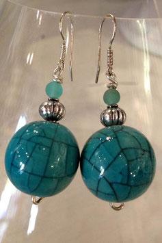 Boucles d'oreilles céramique craquelée turquoise