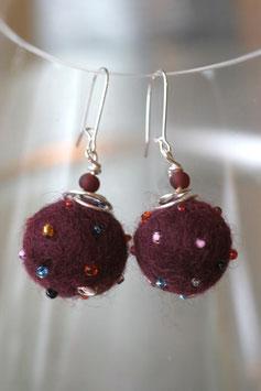 Boucles d'oreilles en laine bouillie violette